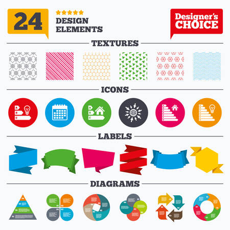 Banner Tags, Stickers And Chart Graph. Energy Efficiency Icons. Lamp Bulb  And House