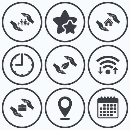 best shelter: Clock, wifi and stars icons. Hands insurance icons. Human life insurance symbols. Nature leaf protection symbol. House property insurance sign. Calendar symbol.