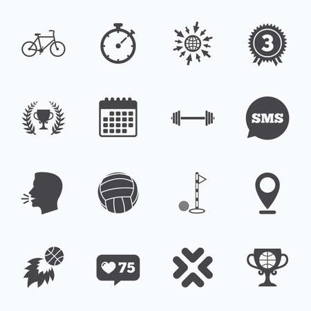 medal like: Calendar, go to web and like counter. Sport games, fitness icons. Golf, basketball and volleyball signs. Timer, bike and winner cup symbols. Sms speech bubble, talk symbols. Illustration