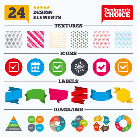 accepted label: Banner tags, stickers and chart graph. Check icons. Checkbox confirm squares sign symbols. Linear patterns and textures. Illustration