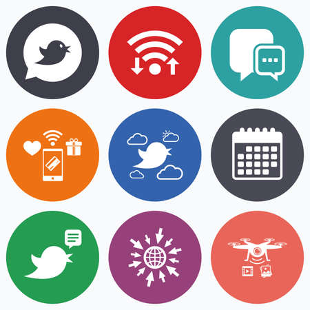 three dots: Wifi, mobile payments and drones icons. Birds icons. Social media speech bubble. Chat bubble with three dots symbol. Calendar symbol.