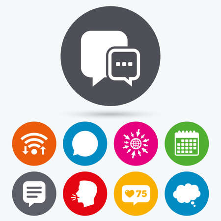 talk bubble: Wifi, like counter and calendar icons. Chat icons. Comic speech bubble signs. Communication think symbol. Human talk, go to web.