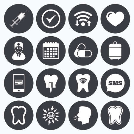 odontology: Wifi, calendar and mobile payments. Tooth, dental care icons. Stomatology, syringe and implant signs. Healthy teeth, dentist and pills symbols. Sms speech bubble, go to web symbols.