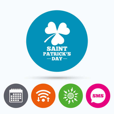 trefoil: Wifi, Sms and calendar icons. Clover with three leaves sign icon. Saint Patrick trefoil shamrock symbol. Go to web globe. Illustration