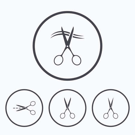 barbershop: Scissors icons. Hairdresser or barbershop symbol. Scissors cut hair. Cut dash dotted line. Tailor symbol. Icons in circles. Illustration