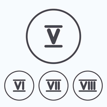 7 8: Roman numeral icons. 5, 6, 7 and 8 digit characters. Ancient Rome numeric system. Icons in circles. Illustration