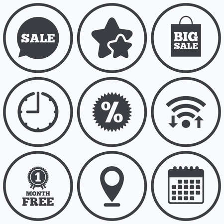 big timer: Clock, wifi and stars icons. Sale speech bubble icon. Discount star symbol. Big sale shopping bag sign. First month free medal. Calendar symbol. Illustration