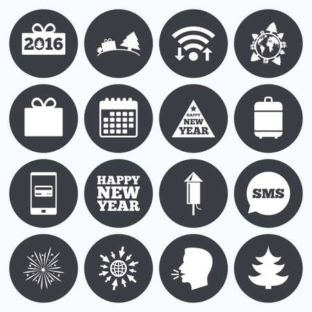 salut: Wifi, calendar and mobile payments. Christmas, new year icons. Gift box, fireworks signs. Santa bag, salut and rocket symbols. Sms speech bubble, go to web symbols.