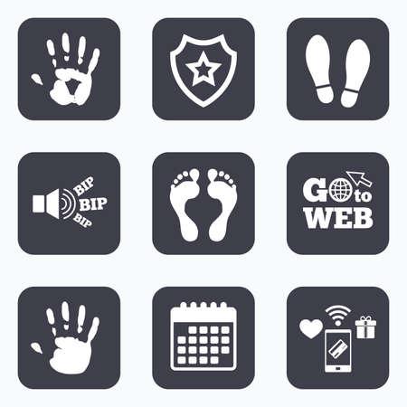 pies descalzos: Los pagos móviles, WiFi y calendario iconos. La mano y el pie de impresión iconos. zapatos de impresión y símbolos descalzo. Pare no incorpore la muestra. Ir a la web símbolo.