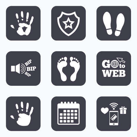 barefoot: Mobile payments, wifi and calendar icons. Hand and foot print icons. Imprint shoes and barefoot symbols. Stop do not enter sign. Go to web symbol. Illustration