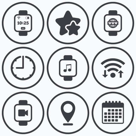 watch video: Clock, wifi and stars icons. Smart watch icons. Wrist digital time watch symbols. Music, Video, Globe internet and wi-fi signs. Calendar symbol.