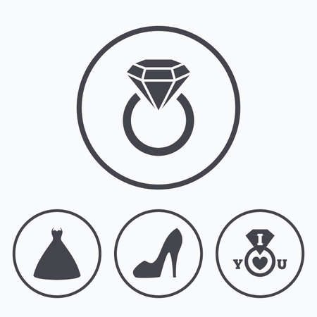 wedding dress: Wedding dress icon. Womens shoe symbol. Wedding or engagement day ring with diamond sign. Icons in circles.