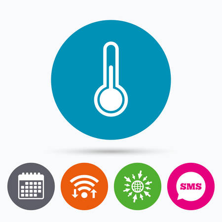 hotness: Wifi, Sms and calendar icons. Thermometer sign icon. Temperature symbol. Go to web globe.
