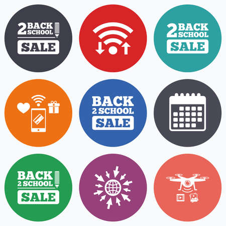 after school: Wifi, mobile payments and drones icons. Back to school sale icons. Studies after the holidays signs. Pencil symbol. Calendar symbol. Illustration