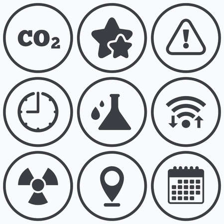 danger carbon dioxide  co2  labels: Clock, wifi and stars icons. Attention and radiation icons. Chemistry flask sign. CO2 carbon dioxide symbol. Calendar symbol.