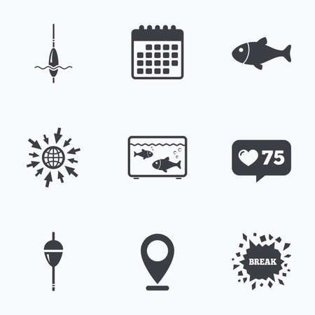 hook like: Calendar, like counter and go to web icons. Fishing icons. Fish with fishermen hook sign. Float bobber symbol. Aquarium icon. Location pointer.