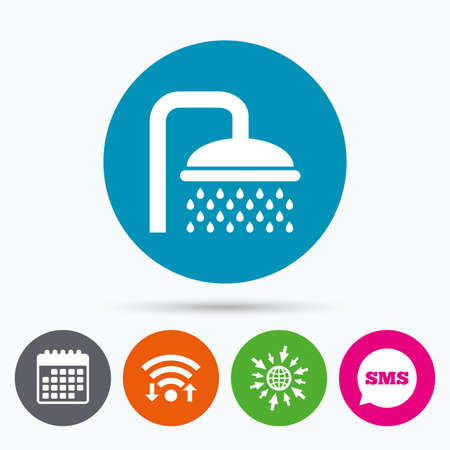 washstand: Wifi, Sms and calendar icons. Shower sign icon. Douche with water drops symbol. Go to web globe.
