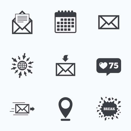 outbox: Calendar, like counter and go to web icons. Mail envelope icons. Message document delivery symbol. Post office letter signs. Inbox and outbox message icons. Location pointer.