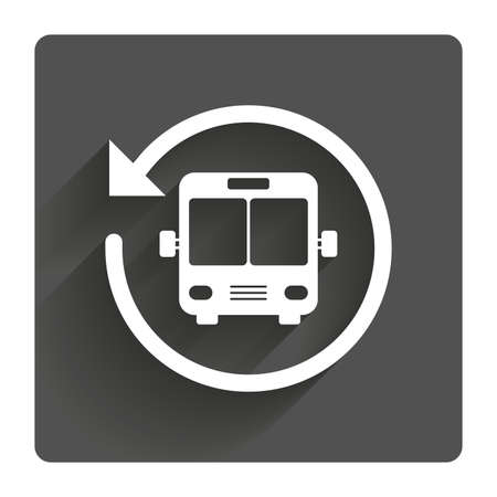 Bus shuttle icon. Public transport stop symbol. Gray flat square button with shadow. Modern UI website navigation. Vector Illustration