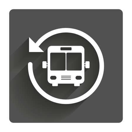 icône de navette de bus. Public stop symbole transport. bouton carré plat gris avec des ombres. Moderne site Web UI navigation. Vecteurs