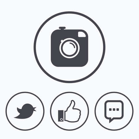 chat up: Hipster photo camera icon. Like and Chat speech bubble sign. Hand thumb up. Bird symbol. Icons in circles. Illustration