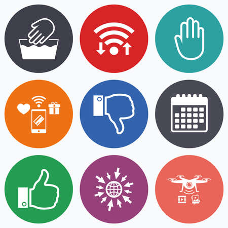 washable: Wifi, mobile payments and drones icons. Hand icons. Like and dislike thumb up symbols. Not machine washable sign. Stop no entry. Calendar symbol.