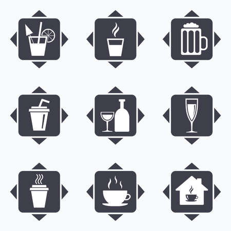 take away: Icons with direction arrows. Tea, coffee and beer icons. Beer, wine and cocktail signs. Take away drinks. Square buttons.
