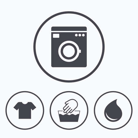washhouse: Wash machine icon. Hand wash. T-shirt clothes symbol. Laundry washhouse and water drop signs. Not machine washable. Icons in circles. Illustration