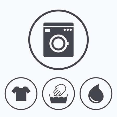 Wash-Maschine-Symbol. Handwäsche. T-Shirt Kleidung Symbol. Wäschewaschhaus und Wassertropfen Zeichen. Nicht maschinenwaschbar. Icons im Kreis.