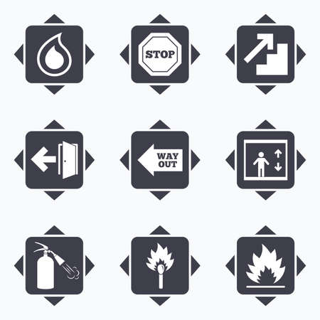burn out: Icons with direction arrows. Fire safety, emergency icons. Fire extinguisher, exit and stop signs. Elevator, water drop and match symbols. Square buttons.