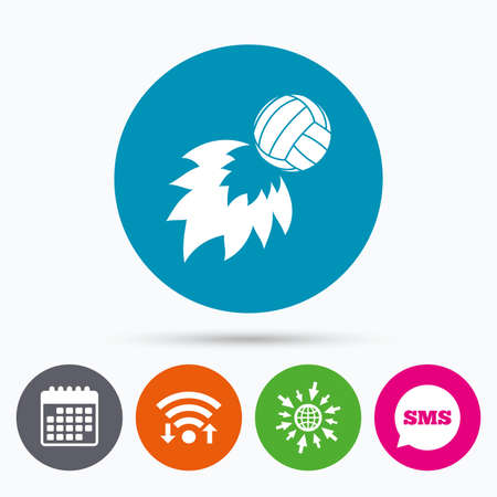 fireball: Wifi, Sms and calendar icons. Volleyball fireball sign icon. Beach sport symbol. Go to web globe.