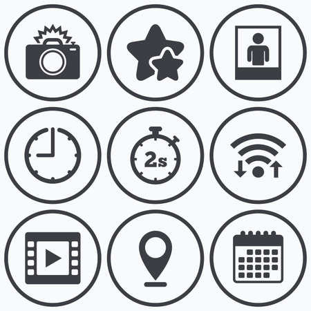 seconds: Clock, wifi and stars icons. Photo camera icon. Flash light and video frame symbols. Stopwatch timer 2 seconds sign. Human portrait photo frame. Calendar symbol. Illustration
