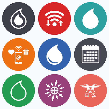 tear drop: Wifi, mobile payments and drones icons. Water drop icons. Tear or Oil drop symbols. Calendar symbol. Illustration