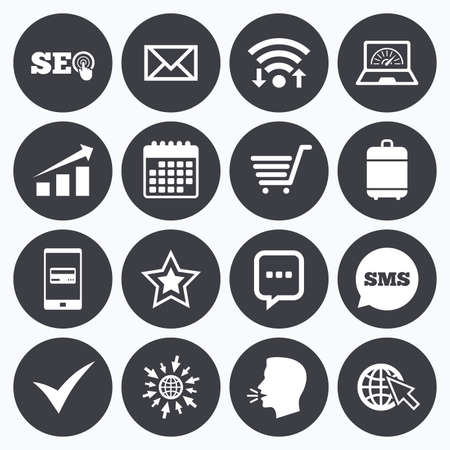 Wifi, calendar and mobile payments. Internet, seo icons. Tick, online shopping and chart signs. Bandwidth, mobile device and chat symbols. Sms speech bubble, go to web symbols.