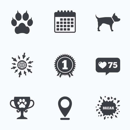 clutches: Calendar, like counter and go to web icons. Pets icons. Cat paw with clutches sign. Winner cup and medal symbol. Dog silhouette. Location pointer. Illustration