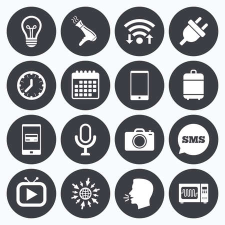 Wifi, calendar and mobile payments. Home appliances, device icons. Electronics signs. Lamp, electrical plug and photo camera symbols. Sms speech bubble, go to web symbols.