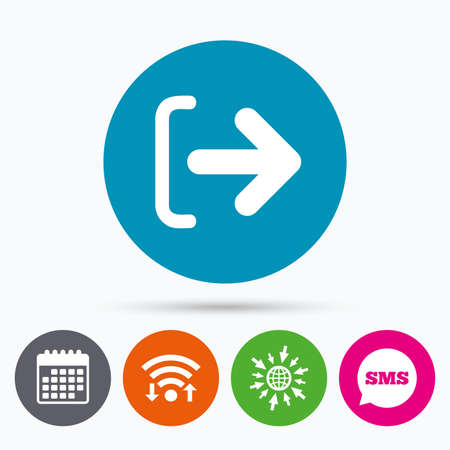 go out: Wifi, Sms and calendar icons. Logout sign icon. Sign out symbol. Arrow icon. Go to web globe.