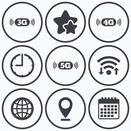 3g: Clock, wifi and stars icons. Mobile telecommunications icons. 3G, 4G and 5G technology symbols. World globe sign. Calendar symbol. Illustration