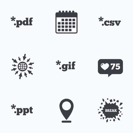 Calendar, like counter and go to web icons. Document icons. File extensions symbols. PDF, GIF, CSV and PPT presentation signs. Location pointer.