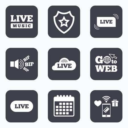 live stream music: Mobile payments, wifi and calendar icons. Live music icons. Karaoke or On air stream symbols. Cloud sign. Go to web symbol.