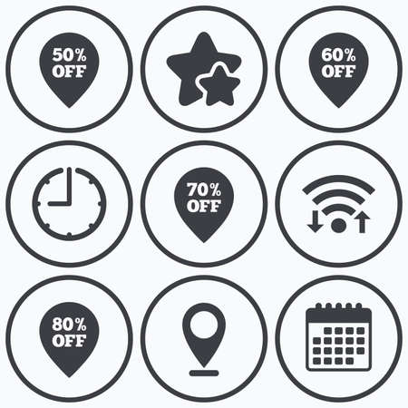 50 to 60: Clock, wifi and stars icons. Sale pointer tag icons. Discount special offer symbols. 50%, 60%, 70% and 80% percent off signs. Calendar symbol. Illustration