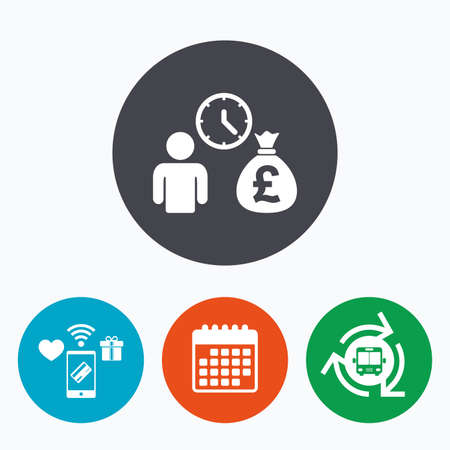 borrow: Bank loans sign icon. Get money fast symbol. Borrow money. Mobile payments, calendar and wifi icons. Bus shuttle.