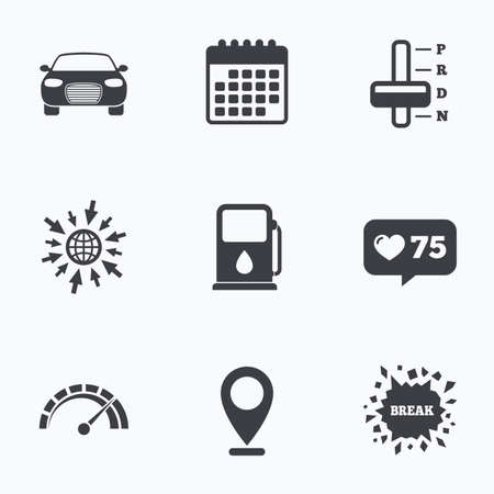 automatic transmission: Calendar, like counter and go to web icons. Transport icons. Car tachometer and automatic transmission symbols. Petrol or Gas station sign. Location pointer. Illustration