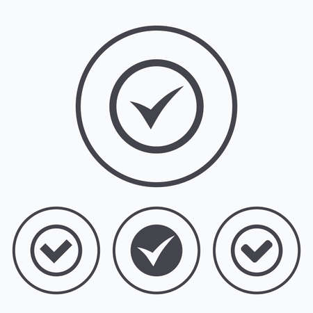 accepted label: Check icons. Checkbox confirm circle sign symbols. Icons in circles.