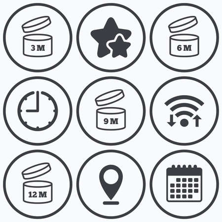 6 9 months: Clock, wifi and stars icons. After opening use icons. Expiration date 6-12 months of product signs symbols. Shelf life of grocery item. Calendar symbol.