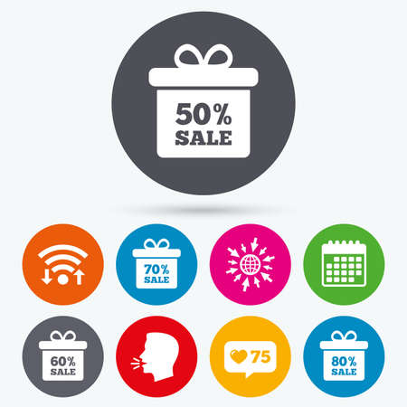 50 to 60: Wifi, like counter and calendar icons. Sale gift box tag icons. Discount special offer symbols. 50%, 60%, 70% and 80% percent sale signs. Human talk, go to web.
