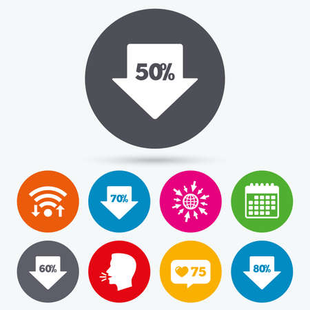 60 70: Wifi, like counter and calendar icons. Sale arrow tag icons. Discount special offer symbols. 50%, 60%, 70% and 80% percent discount signs. Human talk, go to web.