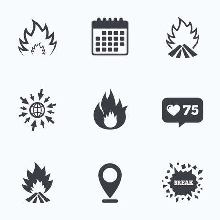 flame like: Calendar, like counter and go to web icons. Fire flame icons. Heat symbols. Inflammable signs. Location pointer. Illustration