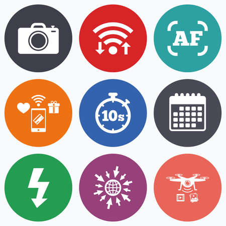 autofocus: Wifi, mobile payments and drones icons. Photo camera icon. Flash light and autofocus AF symbols. Stopwatch timer 10 seconds sign. Calendar symbol.