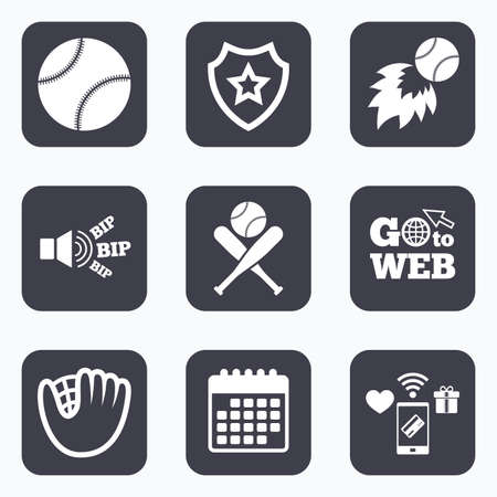professional sport: Mobile payments, wifi and calendar icons. Baseball sport icons. Ball with glove and two crosswise bats signs. Fireball symbol. Go to web symbol.